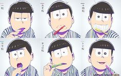 osomatsu san, osomatsu, karamatsu, choromatsu, ichimatsu, jyushimatsu, todomatsu, おそ松さん、おそ松、カラ松、チョロ松、一松、十四松、トド松 // anddd this is where the whole fandom screamed about choros ahego/cowlick :^)) (he has TWO)