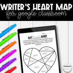 Get to know your students with this back to school writing activity, now available for Google Slides! Encourage students to write from what they know, are passionate about and is important to them. Having the freedom to choose their writing topics increases student engagement and writing quality! Students will create a visual list of writing ideas based on what is important to them (in their heart). They can add text as well as images from image searches. Writing Topics, Writing Resources, Writing Ideas, Teaching Resources, Map Activities, Back To School Activities, Literacy And Numeracy, What To Write About, Reading Goals