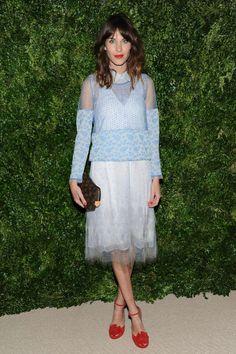 Alexa Chung blue lace chiffon dress, red lips & shoes - VOGUE
