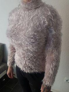 ★ Kuschel Flausch Langhaar Rollkragen Strick Pullover Mohair Optik ~ Beige / S ★