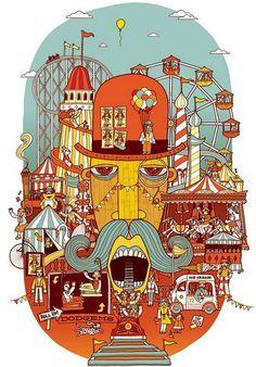 Saved by Allan Deas (allandeas). Discover more of the best Fairground, Allan, Deas, Carnival, and Funfair inspiration on Designspiration Art And Illustration, Graphic Design Illustration, Art Du Cirque, Wonderland, Amusement Park, Urban Art, Design Art, Art Drawings, Artsy