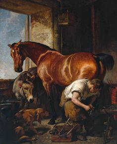"""Sir Edwin Henry Landseer (1802-1873) was an English painter,[ well known for his paintings of animals—particularly horses, dogs and stags. However, his best known works are the lion sculptures in Trafalgar Square. (Wikipedia) (""""Shoeing"""" by Edwin Henry Landseer)"""