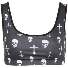 Skull Cross Sports Bra | Hot Topic ($13) ❤ liked on Polyvore featuring activewear, sports bras, tops, shirts, bras, crop tops, crop shirt, skull print shirt and skull shirts