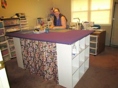 Ann's Quilt N' Stuff: My new 4 x 6 foot cutting table / ironing table we built for about $200 here is a step-by-step description of how we d...