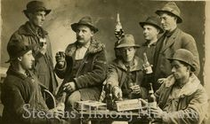 Taken before Prohibition. SHM 14288 - Group of men drinking Cold Spring Beer, Cold Spring (Minn), ca1912 #Minnesota #History #ColdSpringBrewery