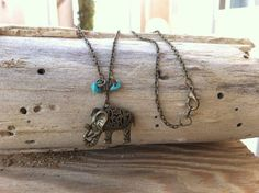 Elephant Necklace by StencilledGarden on Etsy, $25.95