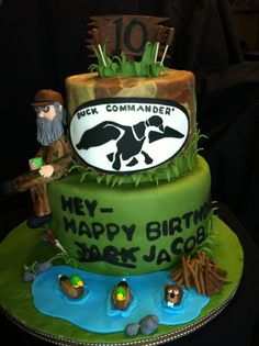Duck Dynasty Uncle Si birthday cake - Uncle Si, ducks, beaver and dam and other decorations all made of fondant. I loved making this cake because I love Uncle Si!