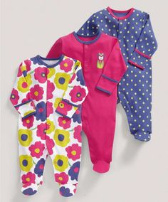Girls Essentials Three Pack of Large Floral All-in-Ones - 3 For 2 Baby Basics - Mamas & Papas
