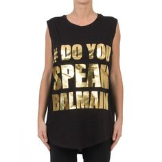 Balmain Laminated-Gold Print T-Shirt ($250) ❤ liked on Polyvore featuring tops, t-shirts, nero, gold tee, balmain t shirt, gold top, print top and oversized tee