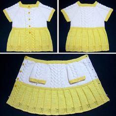We Like Knitting: Seamless Yellow Baby Sweater Dress - Free Pattern