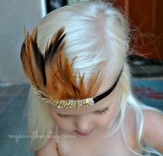 Toddler Feather Crown Feather Tiara Feather Headband by mysweetbee, $16.85