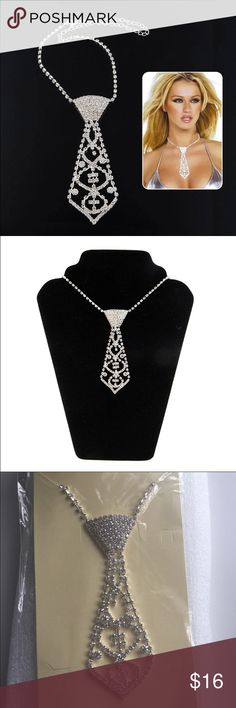 "Rhinestone necktie necklace Fashion crystal rhinestone necktie necklace. Make a bold statement with this lovely accessory.  Material: Crystal rhinestone & alloy Necklace length 7.5"" - 15.8"" (19cm-40cm) Adjustable tie length 11.5cm (4.5"") Weight: 27g  ✅Reasonable offers accepted. See chart if needed.   NO LOWBALL OFFERS (40%-50%) is a definite NO  ✅30%- Sometimes maybe or a counter offer  ✅10-20% most likely a yes. Jewelry Necklaces"