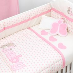 Set de Edredón para Cuna Ternura de Chiquimundo Baby Crib Bedding, Baby Bedroom, Baby Cribs, Baby Girl Blankets, Baby Pillows, Baby Girl Clipart, Baby Elephant Nursery, Cot Quilt, Crib Sets