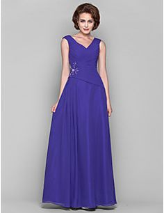 Lanting+Bride®+A-line+Plus+Size+/+Petite+Mother+of+the+Bride+Dress+Floor-length+Sleeveless+Chiffon+withAppliques+/+Beading+/+Draping+/+–+USD+$+225.00