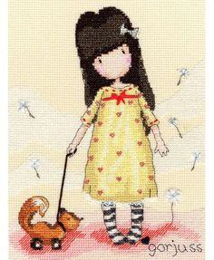Gorjuss The Pretend Friend Cross Stitch Kit £23.00 | Past Impressions | Bothy Threads