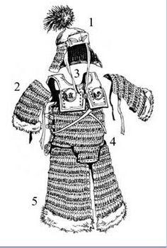 Armadura pesada de padrão centro asiático (utilizada por mongóis e a dinastia Jin, entre outros), séc XIII (Por Л. Chinese Armor, Golden Horde, Medieval Armor, Mongolia, Vikings, Korea, Arms, China, Tibet