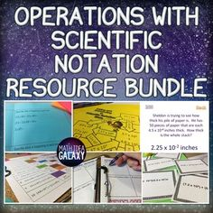 This collection of engaging activities introduces and practices adding, subtracting, multiplying, and dividing with scientific notation. Check it out! Math Teacher, Math Classroom, Teacher Pay Teachers, Math Activities, Math Resources, Math Games, Scientific Notation, Bell Work, 8th Grade Math