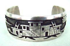 Item # 617X-Navajo/Hopi Pueblo Scenic Silver Overlay Bracelet