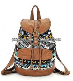 2012 Small Canvas Backpack With PU Trim For Girls