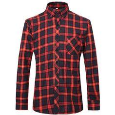 Plaid Luxury Slim Long Sleeve Formal Business Fashion Shirts