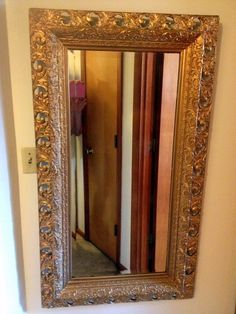 ANTIQUE ROCOCO STYLED CARVED WOOD GOLD GILT GESSO BEVELED MIRROR, LATE 1800s #Rococo