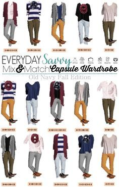 I love this new Old Navy capsule wardrobe for fall. It includes colored pants, stripes and even a shirt dotted with a fox! This set has just 15 pieces including 2 pairs of shoes. Plus Old Navy is so reasonable priced that you can buy it all and be set Old Navy Outfits, Casual Outfits, Dress Casual, Capsule Wardrobe Mom, Work Wardrobe, Fall Wardrobe, Wardrobe Ideas, Look Casual, Casual Chic