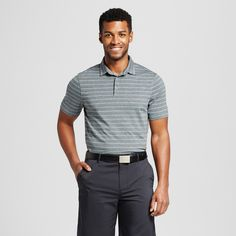 Men's Stripe Golf Polo Shirt - C9 Champion Charcoal (Grey) Xxl