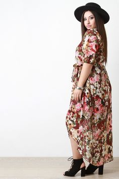 Shop Semi Sheer Floral Print Maxi Dress featuring a plus size maxi dress with a surplice wrap construction, self-tie sash at waist, elbow length sleeves, and an asymmetrical hem. Floral Print Maxi Dress, Plus Size Maxi Dresses, Boutique, Passion For Fashion, Floral Prints, Sash, Construction, Tie, Shopping