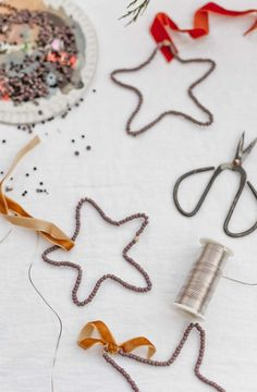 Fabric Ornaments, Wood Ornaments, Ornament Hooks, Star Ornament, Christmas Tree Ornaments, Christmas Crafts, Beaded Crafts, Bead Shop, How To Make Beads