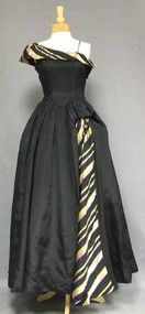 One Shouldered 1940's Evening Gown w/ Striped Inset