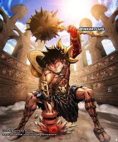 Luffy Gladiator (One Piece) One Piece Comic, One Piece Ace, One Piece Luffy, Anime One, I Love Anime, Anime Manga, Devian Art, One Piece Images, Monkey D Luffy