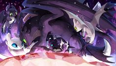 Light fury and night fury family - - - Credit t Credit of artist Httyd Dragons, Cute Dragons, Dreamworks Dragons, How To Train Dragon, How To Train Your, Princesse Disney Swag, Dragon Family, Toothless Dragon, Dragon Rider