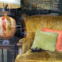 Acid wing-back chair, drip-glaze lamp.