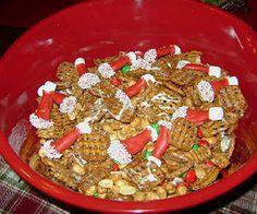 Pretzel and Santa Hat Snack Mix