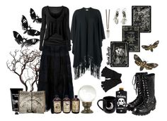"""where there's witch there is a way"" by goth-dolly ❤ liked on Polyvore featuring Unearthen, Vince, Emilio Pucci, Valfré, Universal Lighting and Decor, TokyoMilk, River Island, Rick Owens, Givenchy and Comme des Garçons"