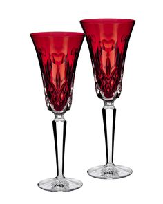 """Waterford Two """"I Love Lismore"""" Red Flutes - Horchow"""