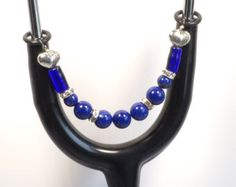 Women's Beaded Stethoscope ID Tag Pendant Charm Jewelry Accessories Blue by dunglebees. Explore more products on http://dunglebees.etsy.com