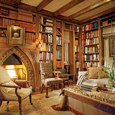 Home Library. José Solís Betancourt was commissioned to renovate the interiors of a 1932 Tudor Revival house in Washington, D.C. Obsessed.