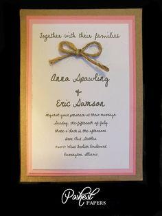 Pink Rustic Wedding Invitation.