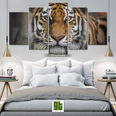 Tiger Face Wall Art, Tiger Canvas Print, Tiger Head Poster, Print on Canvas Wild Tiger, Animal Lover Gift by GTCreativeArt on Etsy Bird Wall Art, Home Wall Art, Tiger Face, Tiger Head, Canvas Frame, Canvas Wall Art, Forest Decor, Multi Picture, Custom Canvas Prints