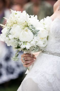 White and sage colors bouquet