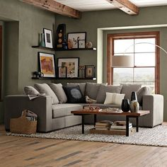 Nice color on the wall, too Walton Sectional modern sectional sofas -- I love the shelves & decor, and the placement too Living Room Green, Home Living Room, Living Room Decor, Living Spaces, Dining Room, Modern Sectional, Sectional Sofas, Small Sectional, Picture Shelves
