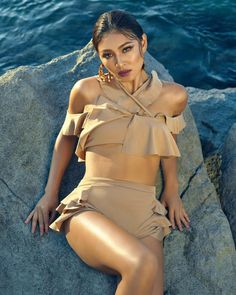 Postcards and Instagram posts have reared us to pigeonhole summer as an endless sojourn with the sun, sand and sea picturesquely in place.… Nadine Lustre Bikini, Filipina Actress, Photoshoot Bts, Jadine, Editorial Fashion, High Fashion, Peplum Dress, Cold Shoulder Dress, Two Piece Skirt Set