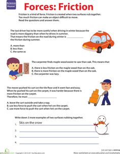 Worksheets: Learn About Force: Friction