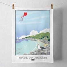 Explore our Coastlines Tea Towel  £8.00  My popular Explore our Coastlines print is now available as a Tea Towel.  Designed by myself and professionally digitally printed and constructed in the UK on 100% Cotton Tea Towel complete with hanging loop. Tea Towel is packaged in branded packaging making it the perfect gift or treat for yourself! Tea Towel Dimensions: 45.5cm x 70cm. Wash care instructions: Wash Max 40 degrees.