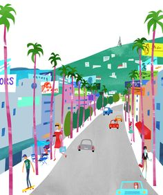 #illustration #art #print #LosAngeles Sunset Blvd, illustration for book Why LA? Pourquoi Paris? You can also purchase prints at https://www.etsy.com/shop/whyLApourquoiParis?ref=si_shop © nicklu