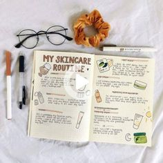 Routine spreads in your bullet journal #skincareroutine #skin #care #routine #bullet #journal #bulletjournal Self Care Bullet Journal, Bullet Journal Notebook, Bullet Journal Aesthetic, Bullet Journal Inspo, Bullet Journal Layout, Bullet Journal Ideas Pages, Birthday Bullet Journal, Bullet Journal Student, Weekly Log