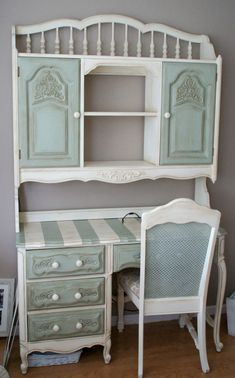 Hutch & Desk- so THATS what I can do with my much-too-young-looking desk and hutch! #shabbychicfurniturebeforeandafter