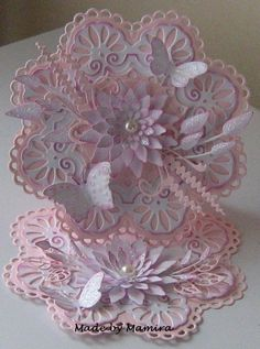 Pink Fancy Fold Cards, Folded Cards, Marianne Design Cards, Spellbinders Cards, Anna Griffin Cards, Shaped Cards, Embossed Cards, Beautiful Handmade Cards, Easel Cards