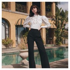 Saturdays call for the SUCRE blouse and MORGAN pant. Do you have your weekend outfit? Cruise Collection, Weekend Outfit, White Shirts, Designer Dresses, Dresses For Work, Blouse, Pants, How To Wear, Outfits